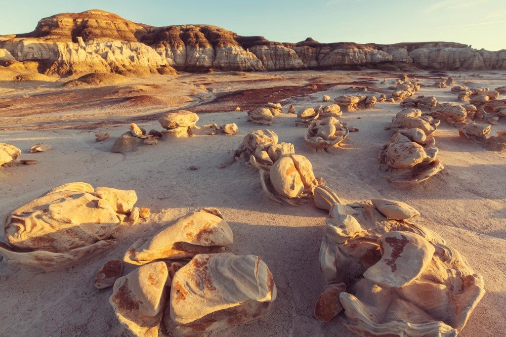 Rock formations in the Bisti Badlands.