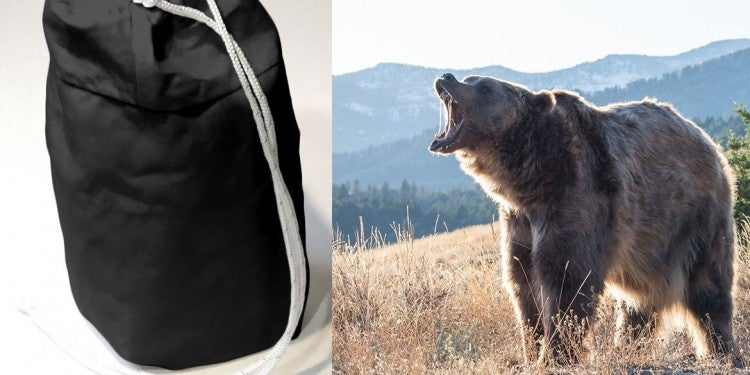 (left) product image of black bear bag (right) brown bear growling with mouth open in mountainous landscape