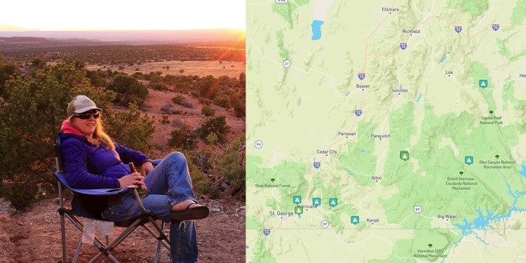 (left) woman reclines in camp chair holding a beer at sunset (right) options for camping in southern utah mapped on the dyrt