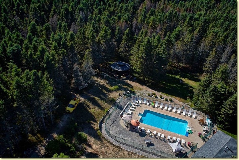 Aerial view of the spruce hill pool and surrounding forest.
