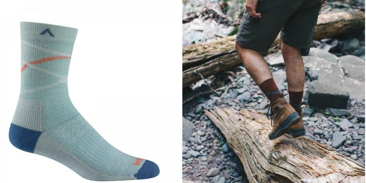 (right) blue wigwam wool sock against a white background (right) a man wearing socks and hiking boots stepping on a log