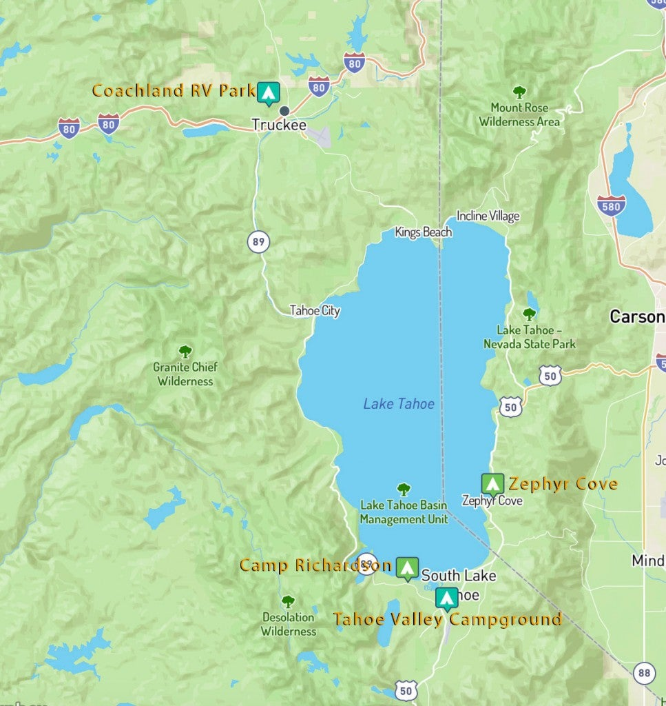 Map of Lake Tahoe showing the locations of the four campgrounds listed.