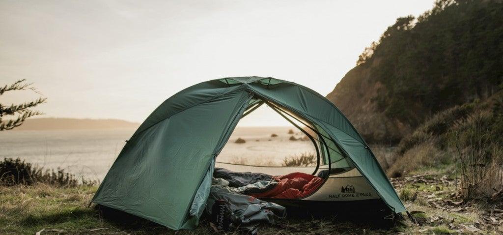 Rei half dome setup on the coast.