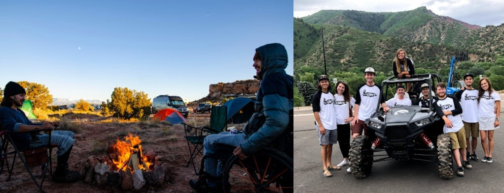 Left: Two men sitting around campfire with tent and desert in background. Right: Return to Dirt adaptive sports team stands around ATV with mountains in background