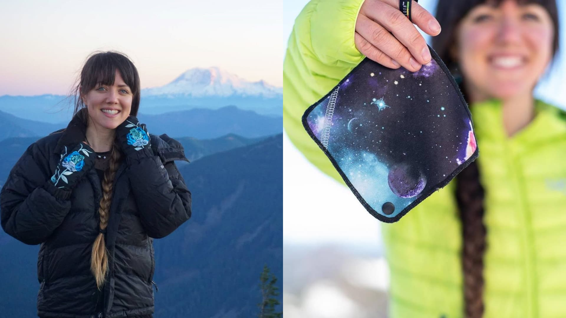 (left) anastasia allison poses for photo on mountaintop with mount rainier in the background, (right) anastasia holds a kula cloth in winter setting