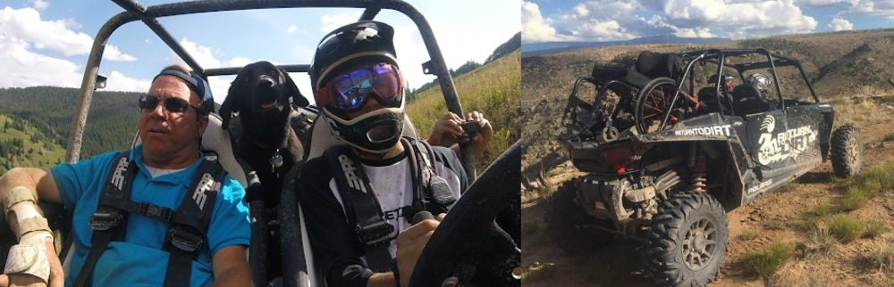 Left: Three men facing camera while riding in ATV. Right: ATV on red dirt road in Utah