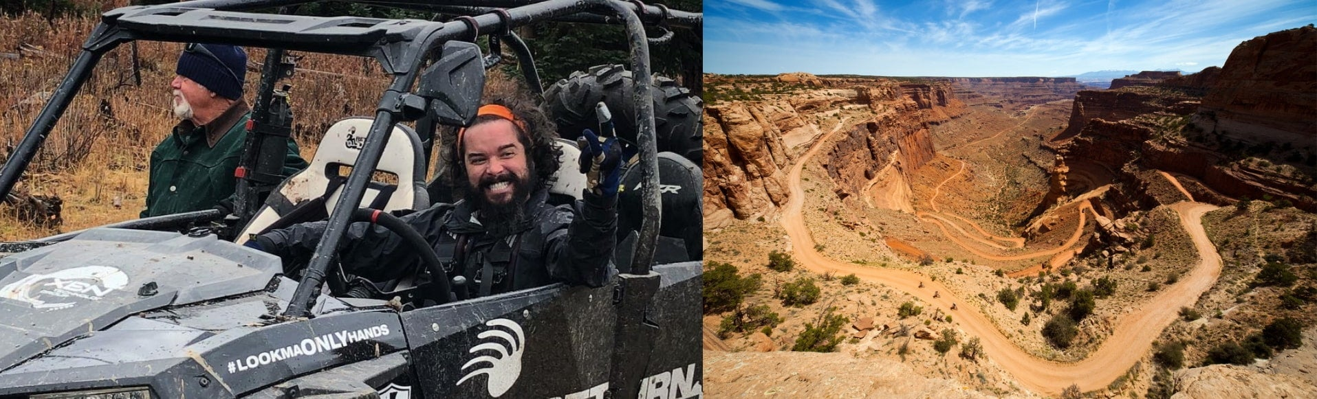Left: Man smiling in ATV. Right: Aerial view of a rolling road in Utah