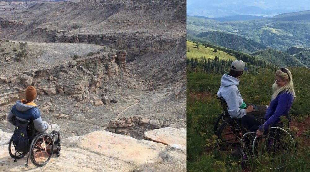 Left: Man in wheelchair looking over large canyon. Right: Two people in wheelchairs in field looking over green valley in Colorado