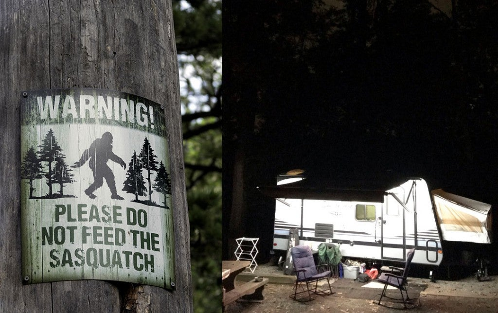a warning sign about bigfoot in georgia and a camping trailer at night