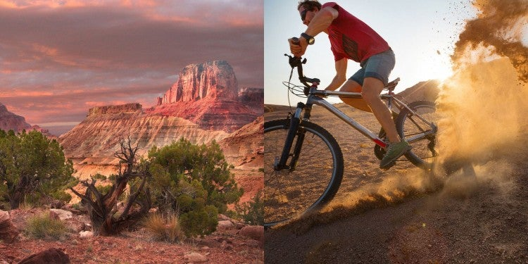 (left) rock formations in san rafael swell illuminated pink at sunset (right) mountain biker kicks up dirt with tires in desert