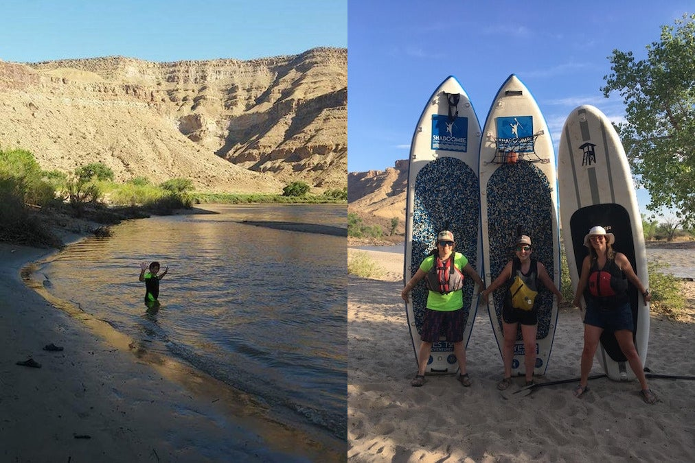(left) young child plays in water along swasey's beach (right) three women pose for photo in front of their stand up paddleboards