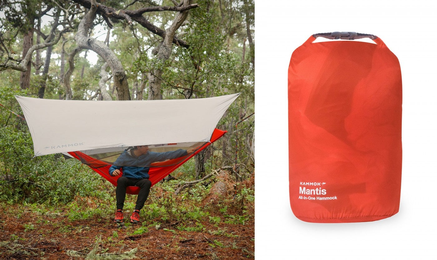 a split image featuring a hammock tent with a rainfly and a rolled-up hammock in packaging