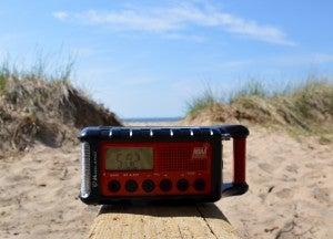 Midland radio on a beach