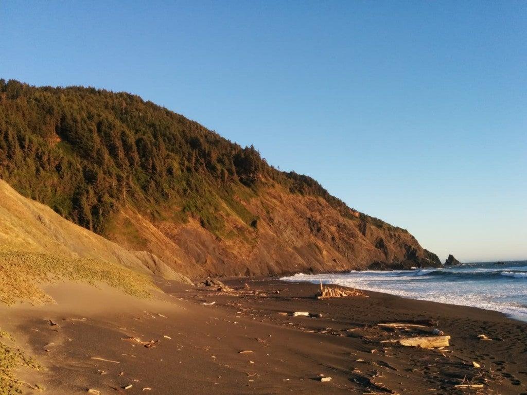 Looking down a beach towards rocky headlands on Oregon coast