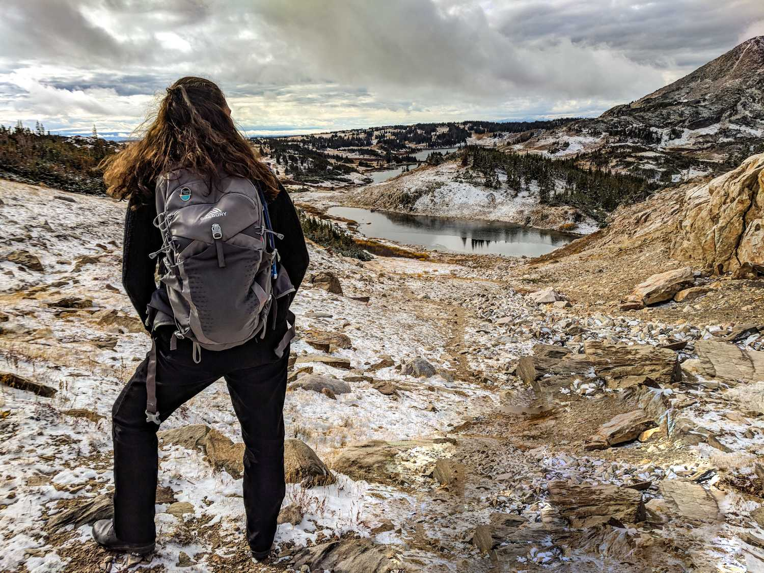 Women with windswept hair faces a snow dusted rugged landscape.