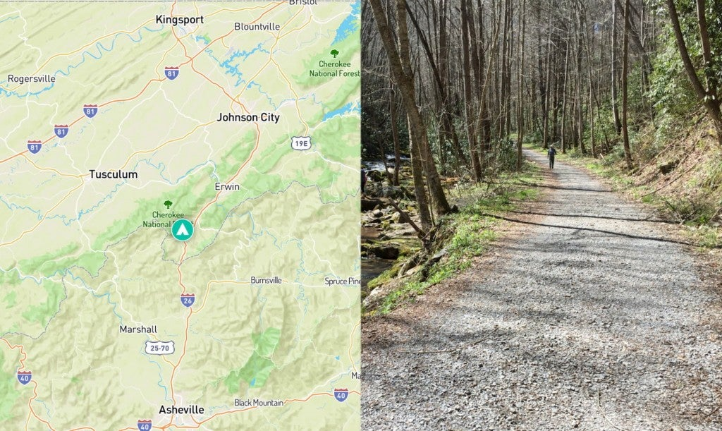 Left: Map showing Rocky Fork State Park, Right: person in a hat walking beside a rushing river in Rocky Fork.