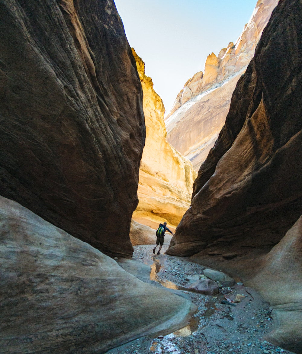 Person walking in the middle of a canyon with stream running through
