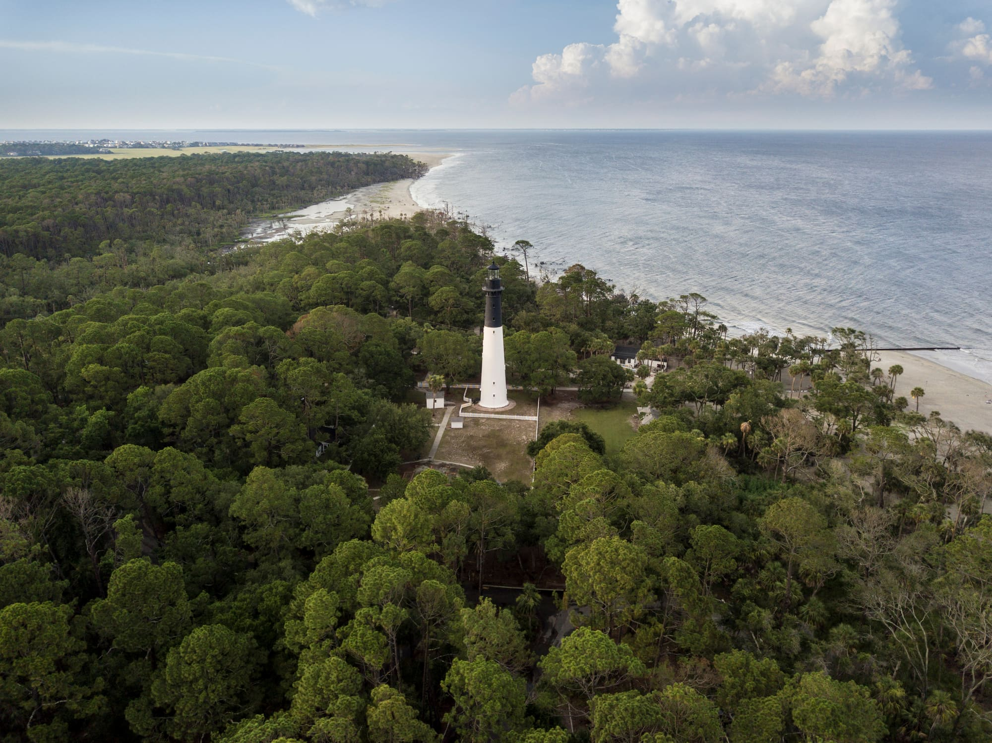 Aerial view of the light house on hunting island.