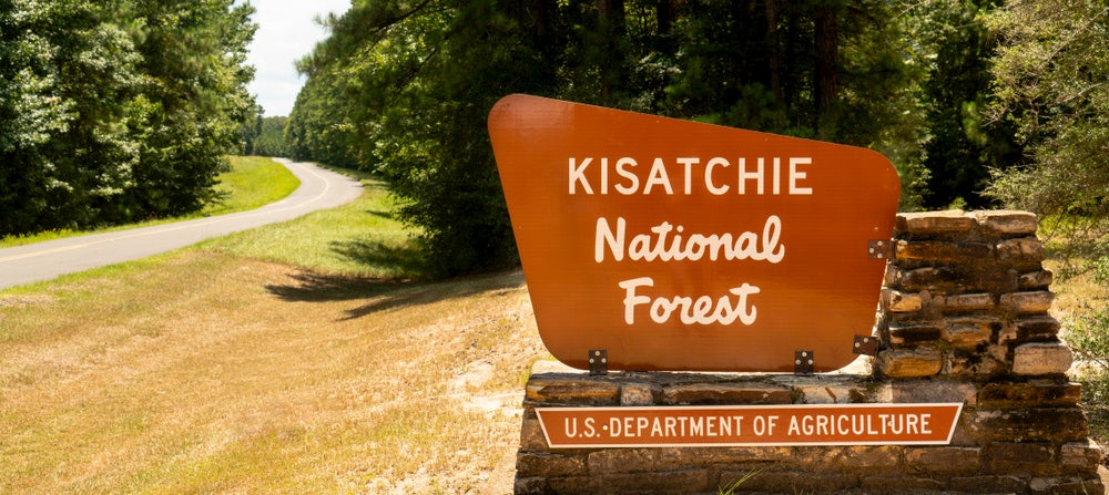 View of Kisatchie National Forest sign with trees and road in background