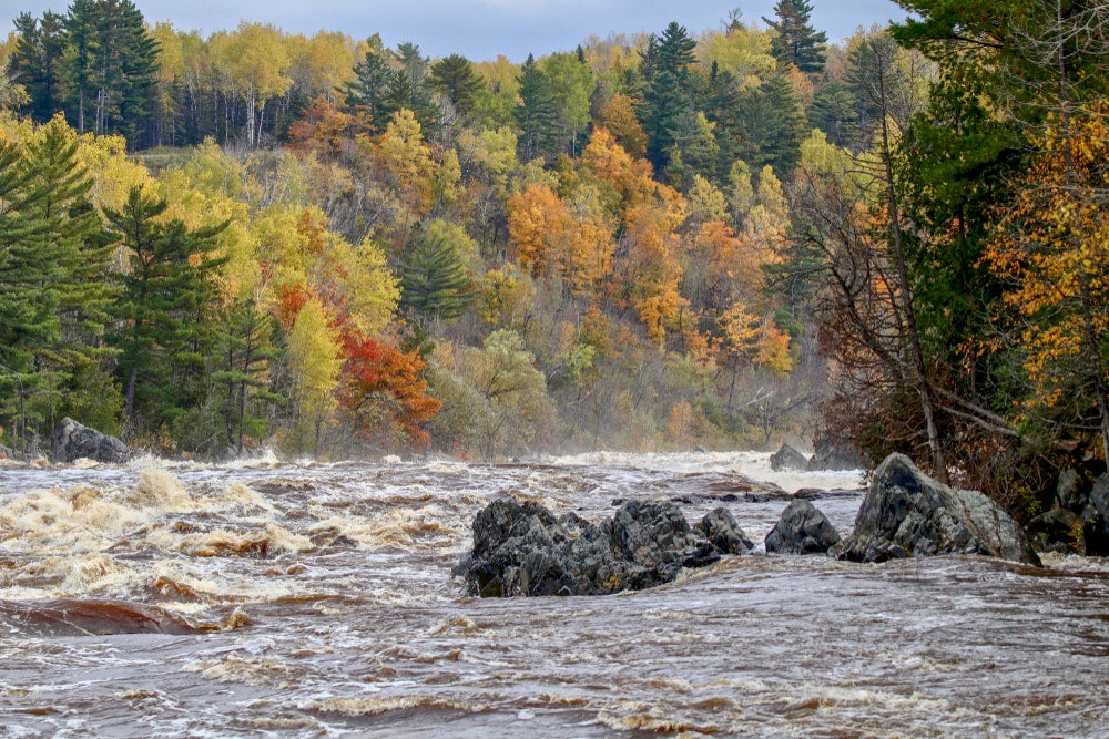 Rushing river with fall foliage in background