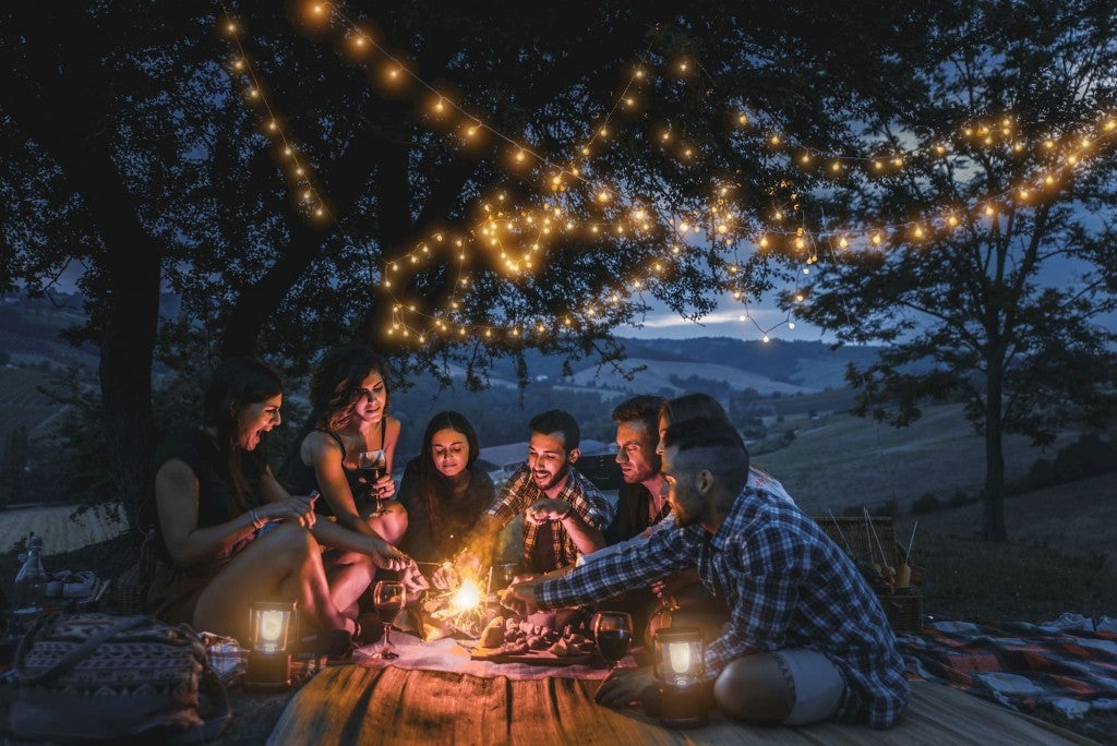 Group of friends sitting around picnic with fairy lights in tree behind them