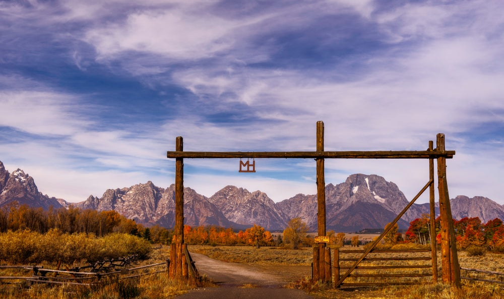 Dude ranch wooden entrance in the Grand Tetons, Wyoming.