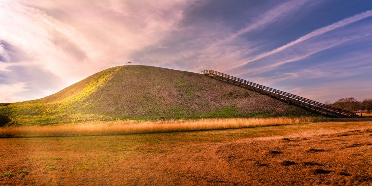 sunset over the etowah indian mounds