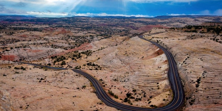 Aerial view of Utah's highway 12.