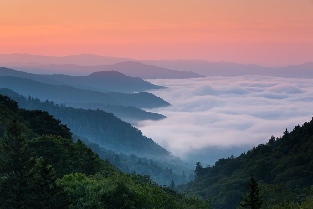 Great smoky mountains view from a peak overlooking clouds in the valleys below.