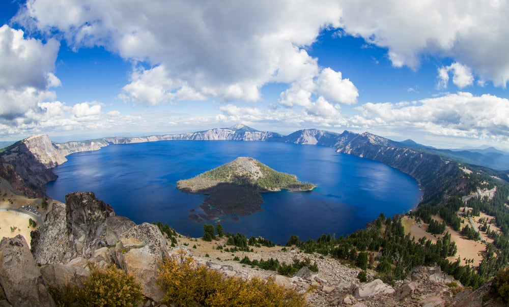 Wide angle shot of Crater Lake with island in giant lake