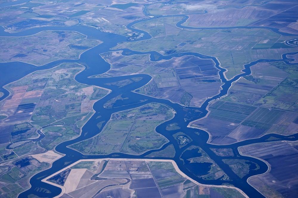 Aerial view of the Sacramento-San Joaquin Delta