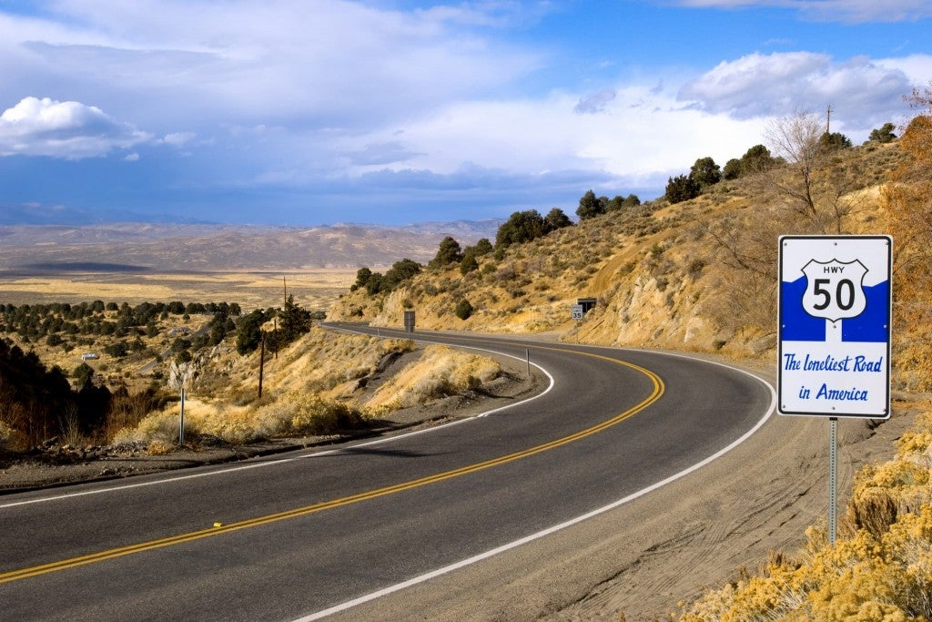 desert landscape along nevada's route 50