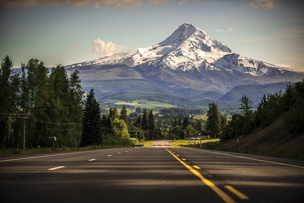 Road view of Mount Hood in Oregon