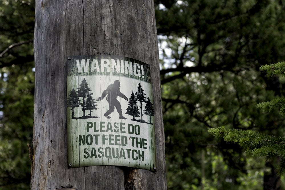 Sign on tree that says: Please Do Not Feed The Sasquatch