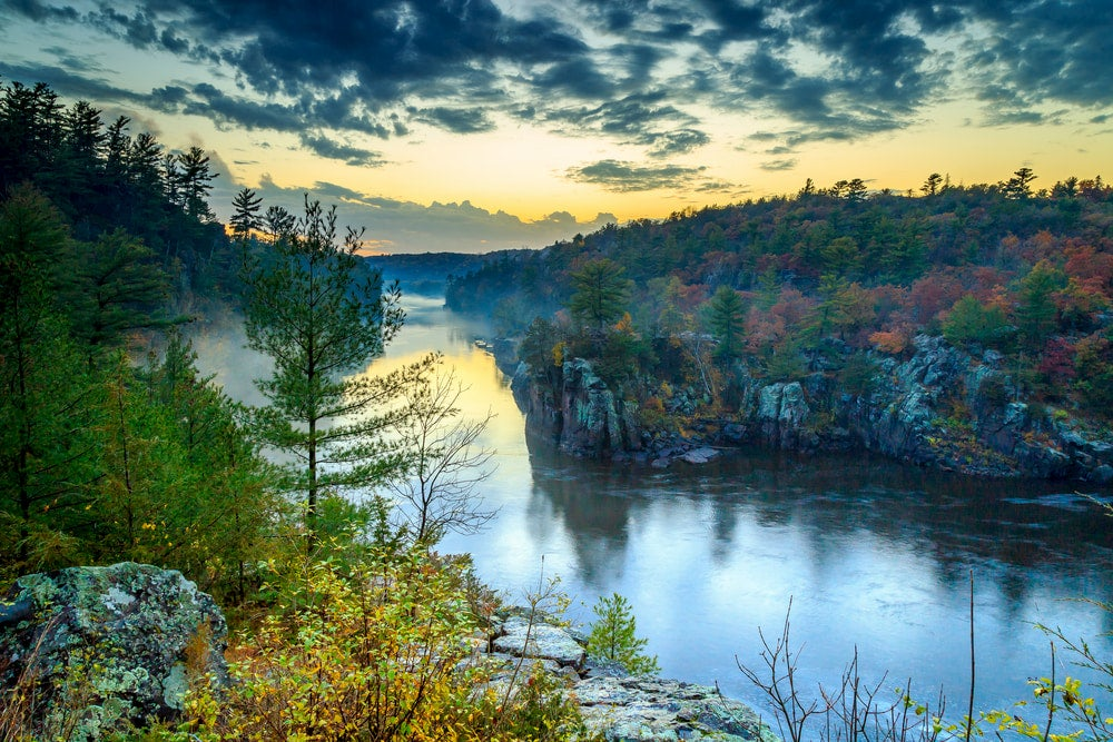 St. Croix River with large rock formation along river
