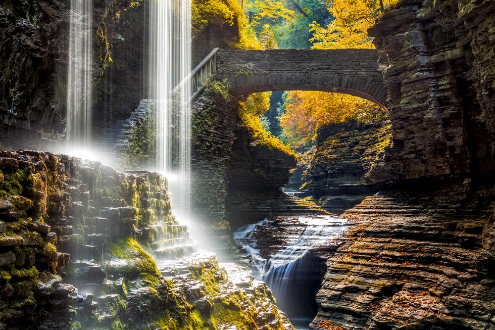 Water fall and bridge in gorge at Watkins Glen