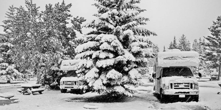 Snow covered RVs parked in a winter landscape of frozen evergreen trees.