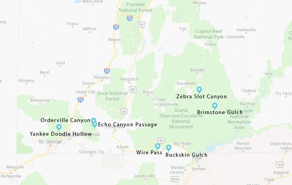 Map of the seven canyons listed below.