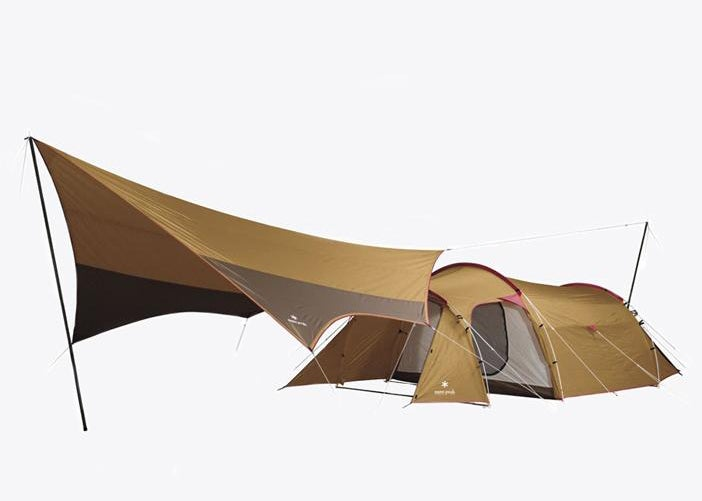 product image of snow peak's tarp and tent setup against a white background