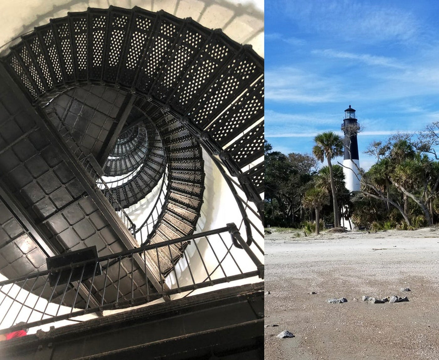 Left upwards view of spiral staircase inside of a light house. Right: Black and white striped light house between palm trees on a beach.