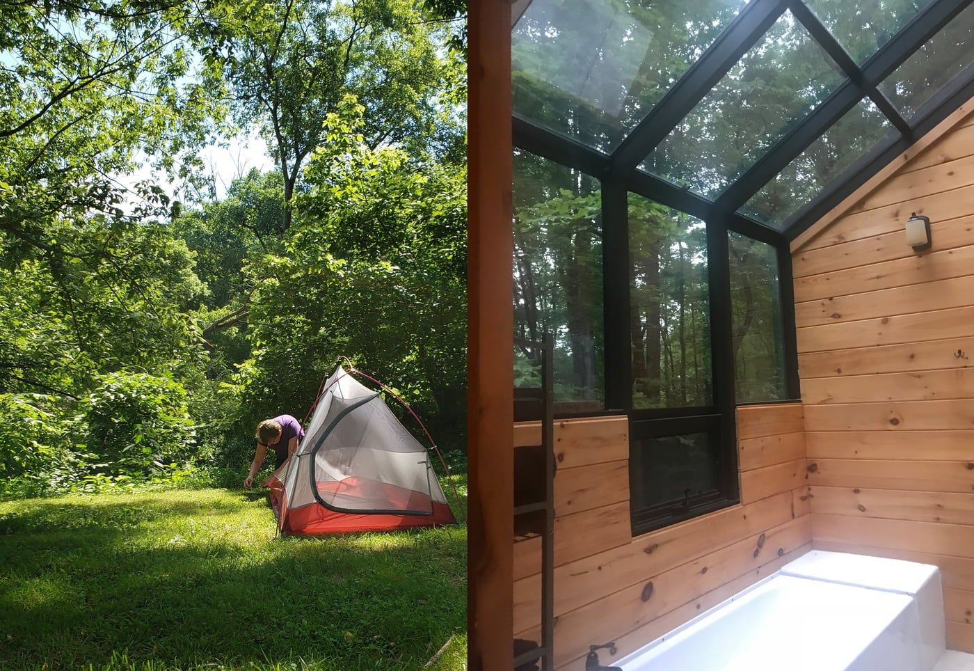 Left: person setting up orange tent in a grassy wooded area Right: bathtub in wooden cabin with picture windows over the ceiling.