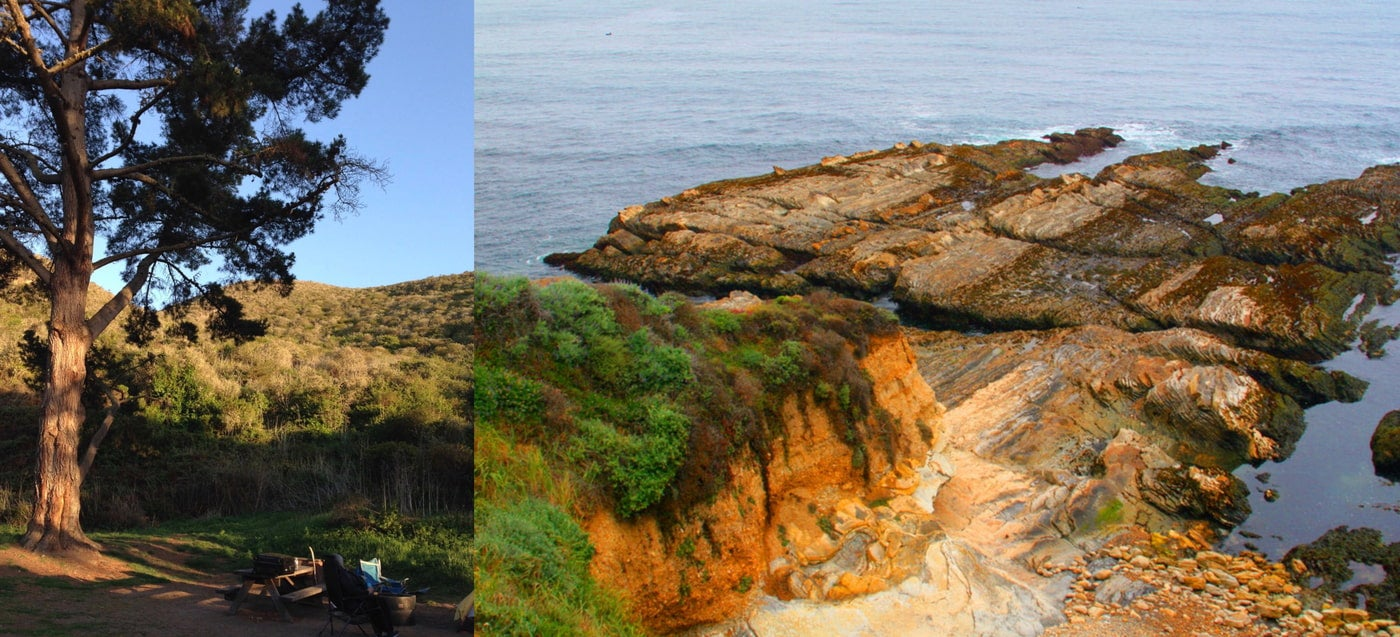 Right: shady campsite with fire pit in dry California hills. Left: view point of reddish rocks in the ocean from the campsite.