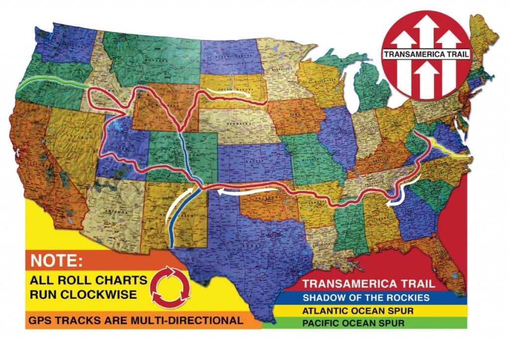 colorful map of the united states showing the route of the Trans-America Trail and 3 spur routes