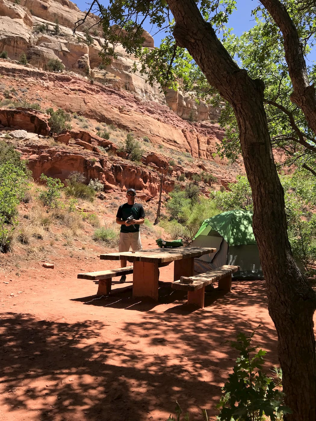 Picnic table and camper in Lower Calf Creek Campground.