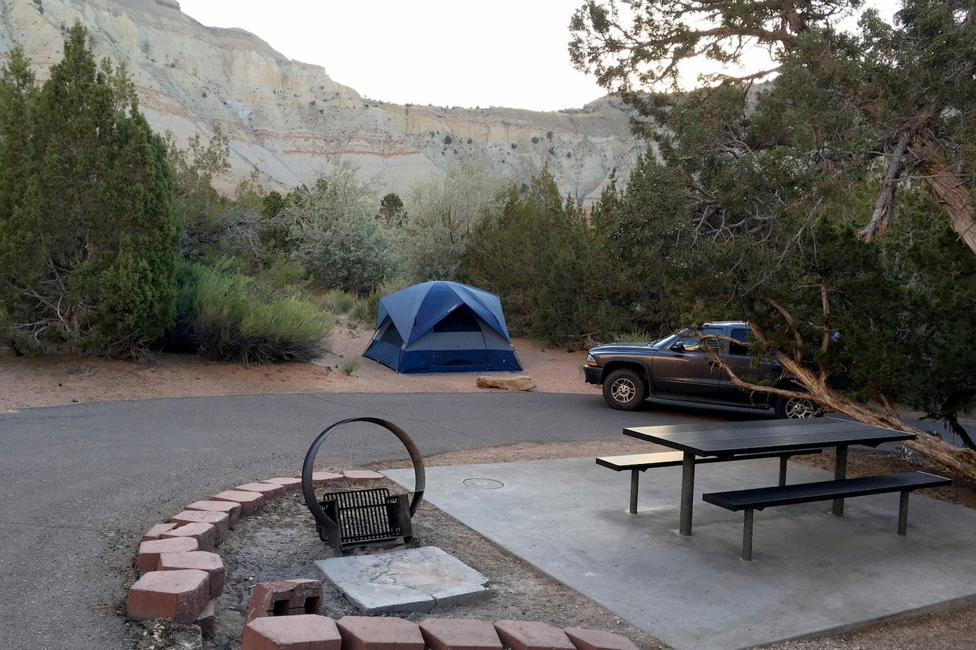 Campground and mountain landscape at Utah Kodahcrome Basin.
