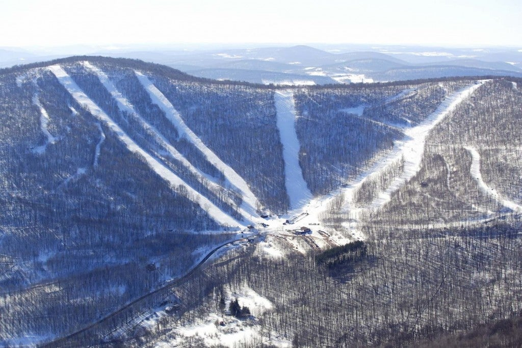wintery aerial view of plattekill mountain