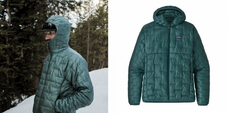 a man wearing a patagonia packable jacket in the snow, and the same jacket in a product image