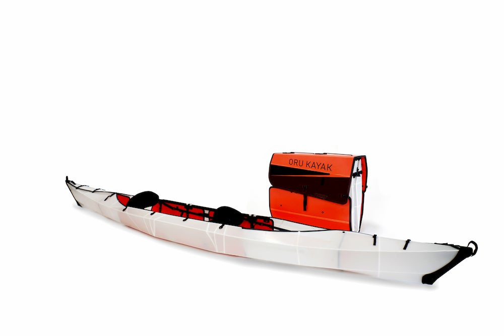 an oru haven folding kayak put together and then in backpack form