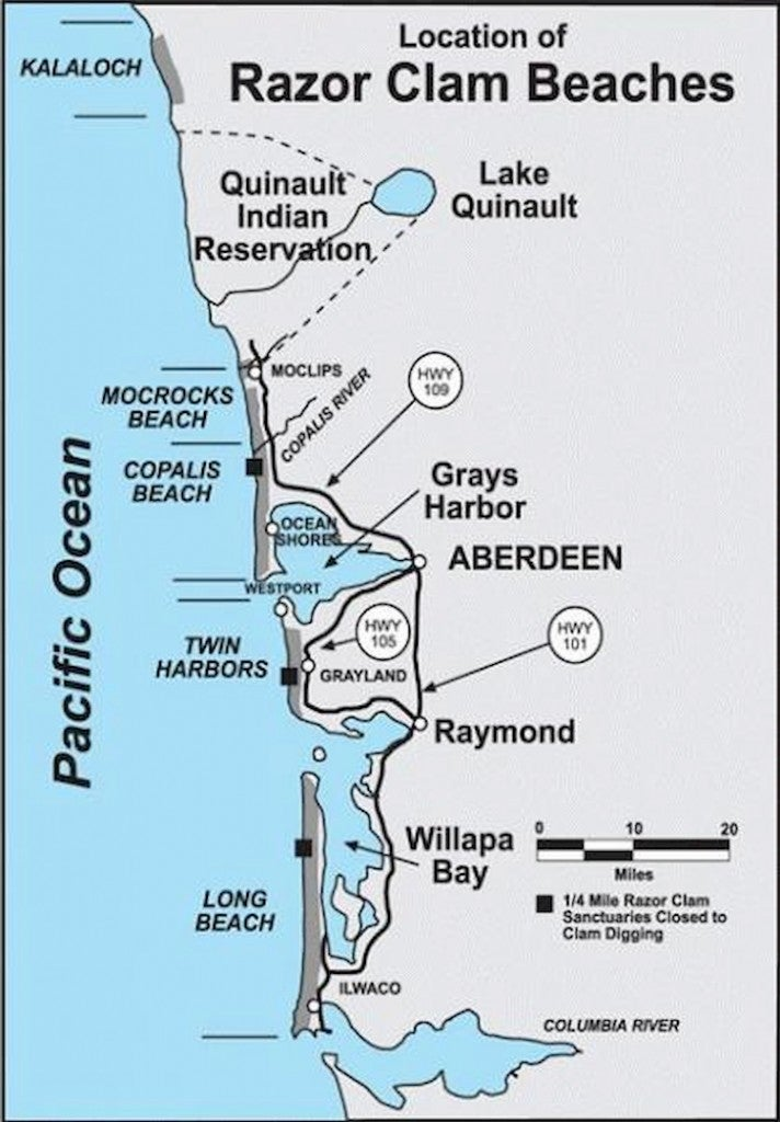 a map of beaches for razor clam digging in washington