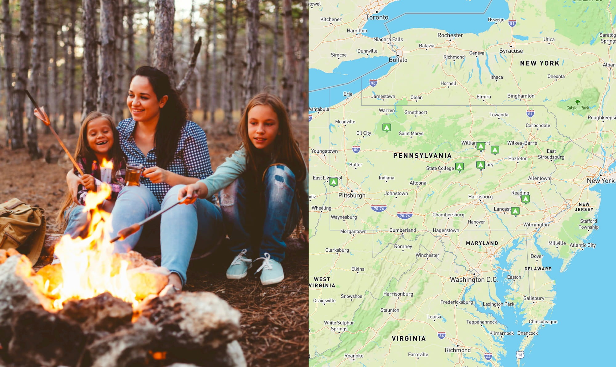 left: family roasting marshmallows, right: map of campgrounds listed below